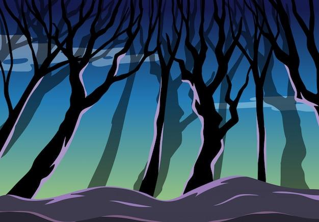 어두운 숲 배경 장면에 큰 나무