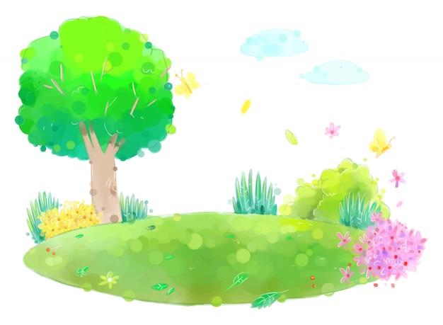 花と葉の大きな木グリーンフィールドの図