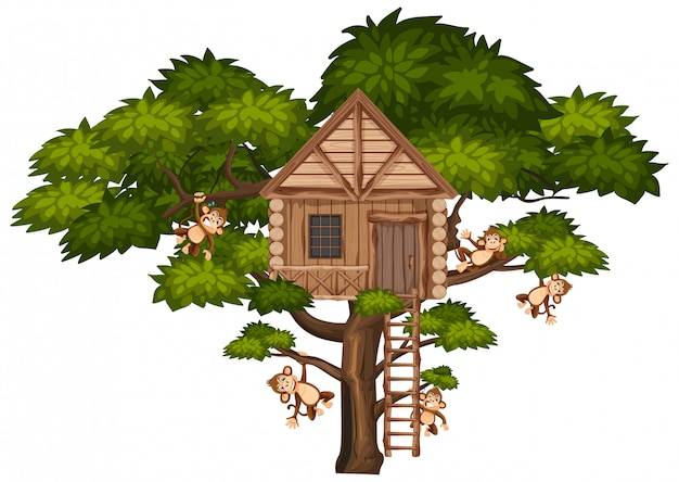 Big tree with treehouse and many monkeys on the branches