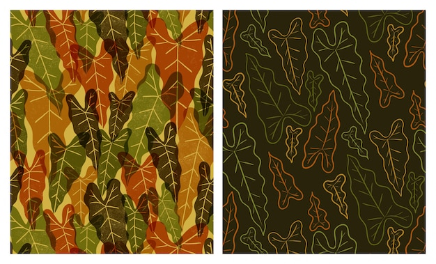 Big tropical leaves seamless patterns set
