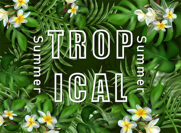 Big tropical summer sale banner template with tropical leaves