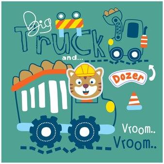 큰 트럭과 파는 재미있는 동물 만화