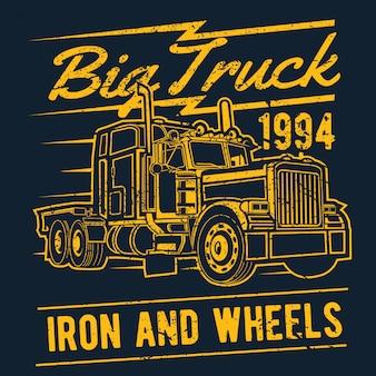 Big truck hand drawing vector