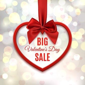 큰 발렌타인 데이 판매, 포스터 템플릿입니다. 빨간 리본 및 활, 하트와 bokeh 동그라미와 추상적 인 배경에 붉은 마음.