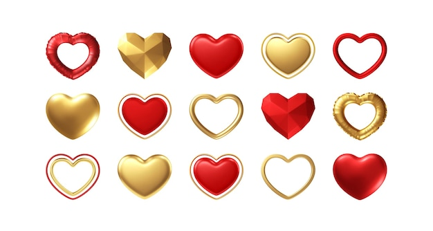 Big valentines day set of different realistic gold, red hearts isolated on white background. happy