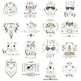 かわいい動物との大きなベクトルコレクション。テディベア、猫、キツネがセットになっています。スケッチスタイルのtシャツプリント、カード、ポスターのトレンディなデザイン。落書きキッズシリーズ面白いキャラクター。漫画の芸術。