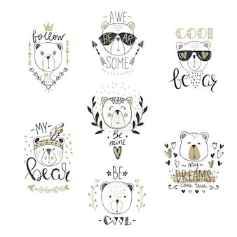 かわいいファッションクマとの大きなベクトルコレクション。スタイリッシュなテディベアセット。スケッチスタイルのtシャツプリント、カード、ポスターのトレンディなデザイン。落書きキッズ動物シリーズ。面白いキャラクター。