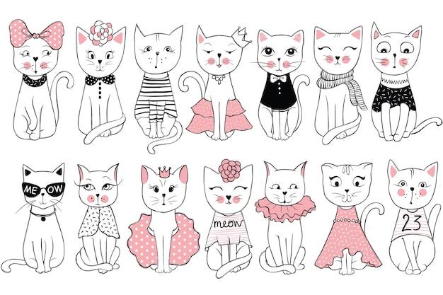 かわいいファッション猫との大きなベクトルコレクション。スタイリッシュな子猫セット。スケッチ風tシャツプリント、カード、ポスターのトレンディなイラスト。落書きキティ。キッズアニマルシリーズ。面白いキャラクター。