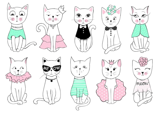 かわいいファッション猫とビッグベクターシリーズ。スタイリッシュな子猫セット。スケッチ風tシャツプリント、カード、ポスターのトレンディなイラスト。落書きキティ。子供の動物。面白いキャラクター。