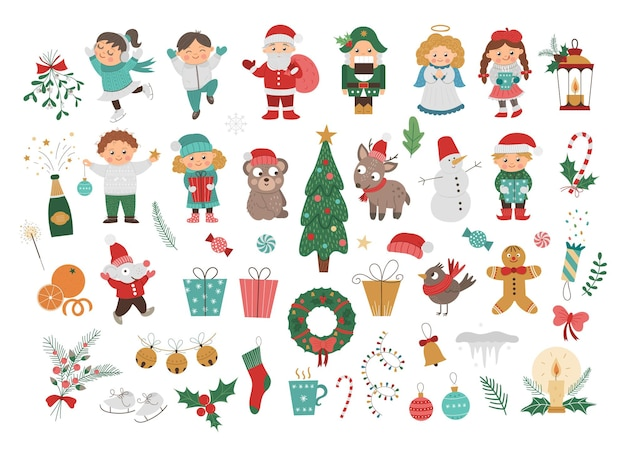 Big vector set of christmas elements and children, santa claus in red hat with sack, angel, nutcracker, christmas tree isolated on white. cute funny illustration for decorations or new year design.