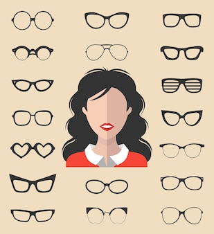 Big vector set of dress up constructor with different women glasses in trendy flat style. female in sunglasses faces icon creator.