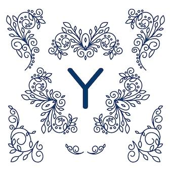 Big vector set of line floral design elements