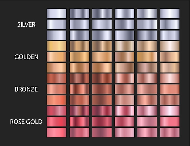 Big vector set metallic gradients, gold, silver, bronze, rose gold.