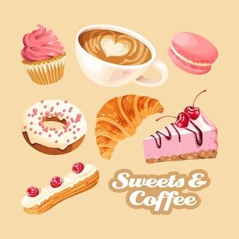 Большой векторный набор кофе и различных розовых и белых сладостей