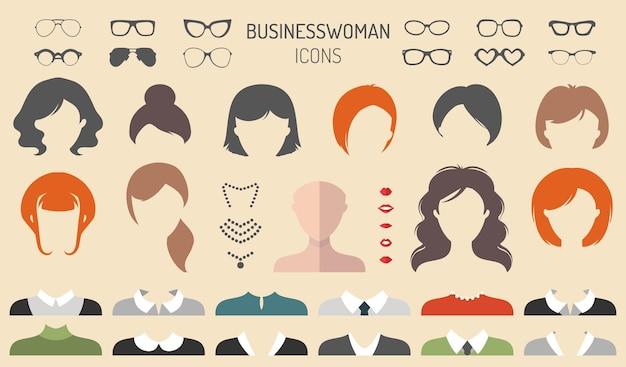 トレンディなフラットスタイルのさまざまな実業家のヘアカット、メガネ、唇、摩耗、ジュエリーのドレスアップコンストラクターの大きなベクトルセット。女性の顔のアイコンの作成者。