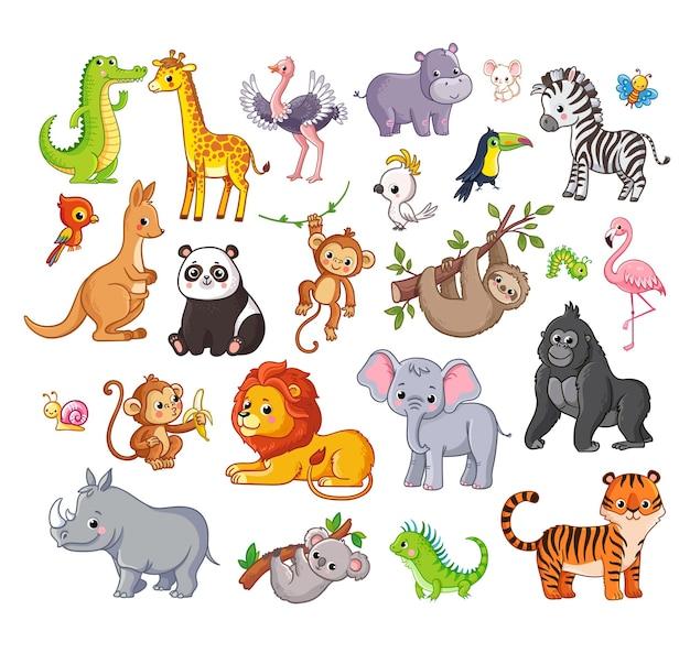 Большой векторный набор с животными в мультяшном стиле