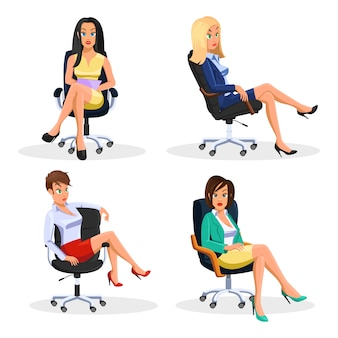 Big vector set with young beautiful business women sitting at rolling office armchairs in different poses.