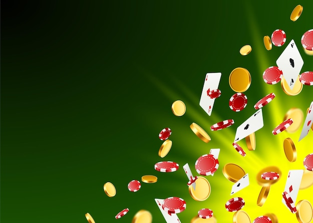 A big victory. winning in the casino. flying chips, playing cards and coins on a green background. vector illustration