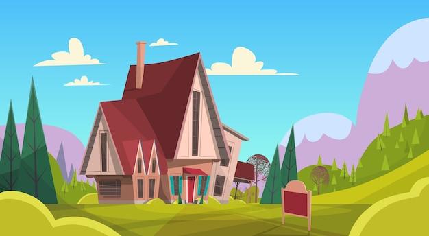 Big village house summer landscape