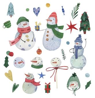 Grachic 요소와 설정 큰 수채화 크리스마스