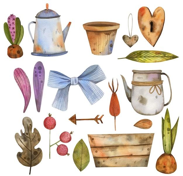 Big watercolor garden set with a teapot