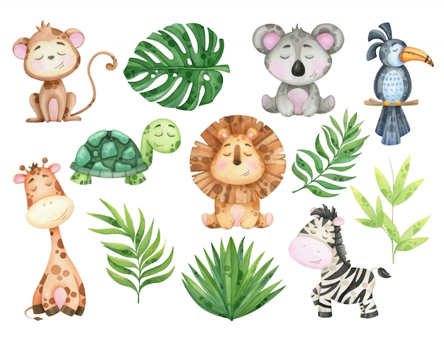 Big watercolor set of tropical animals and leaves