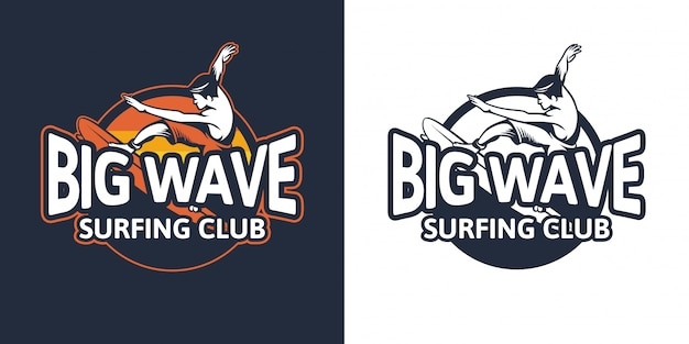 Big wave badge surfing club for logo emblem patch design template