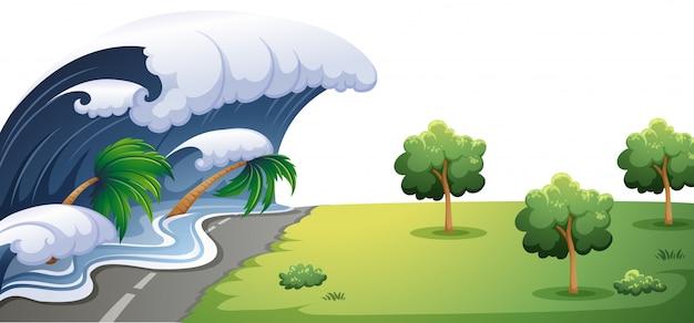 大きな波が道を襲う