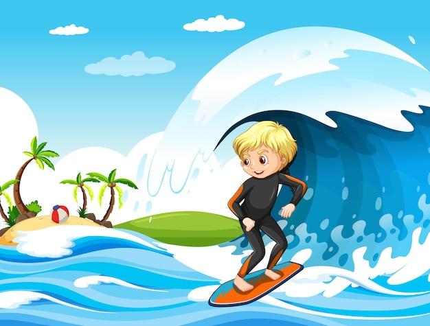 서핑 보드에 서있는 소년과 함께 바다 장면에서 큰 파도