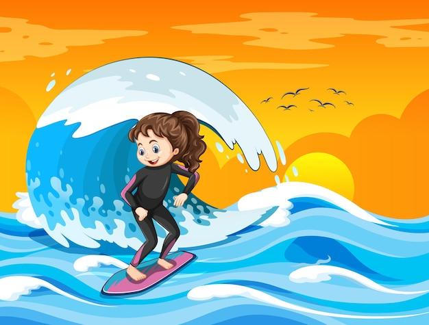 Большая волна в океанской сцене с девушкой, стоящей на доске для серфинга