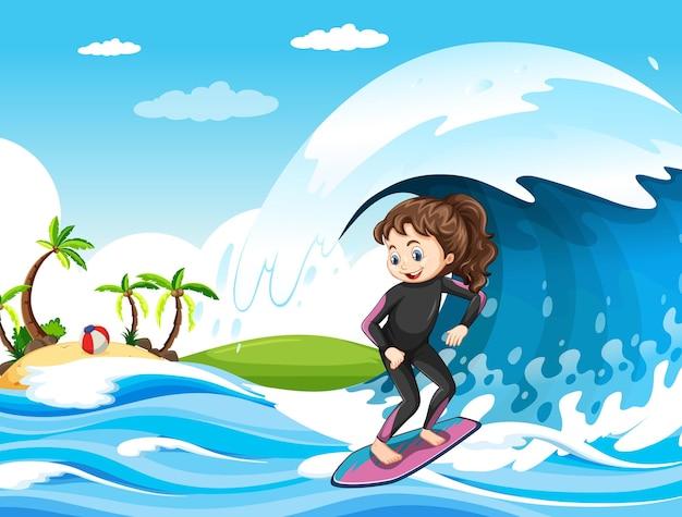 서핑 보드에 서있는 소녀와 바다 장면에서 큰 파도