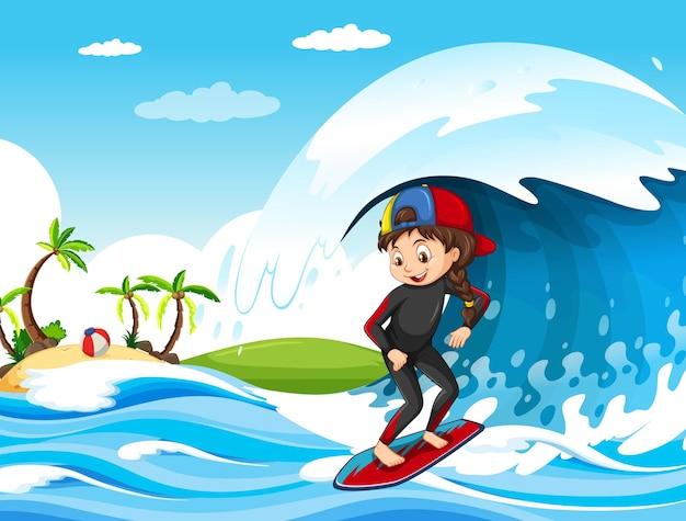 サーフボードに女の子が立っている海のシーンで大きな波