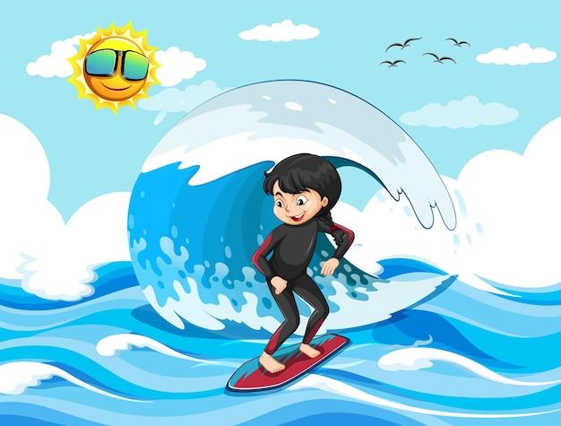 Grande onda nella scena dell'oceano con la ragazza in piedi su una tavola da surf