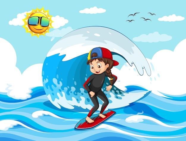 Grande onda nella scena dell'oceano con una ragazza in piedi su una tavola da surf