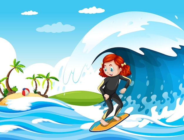 Big wave in the ocean scene with girl standing on a surfboard