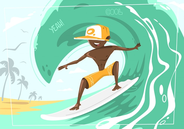 Big wave rider. concept design of a summer holidays by the ocean Premium Vector