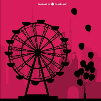 Big wheel and balloons silhouettes