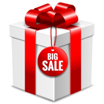 Big white gift box with red bow and big sale tag isolated