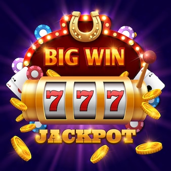 Big win 777 lottery vector casino concept with slot machine. win jackpot in game slot machine illust