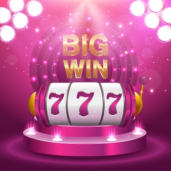 Big win 777 lottery vector casino concept with slot machine