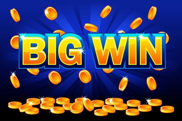 Большой выигрыш и падающие золотые монеты сверху