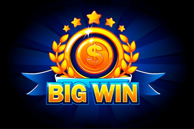 Big win banner with blue ribbon and text. Premium Vector