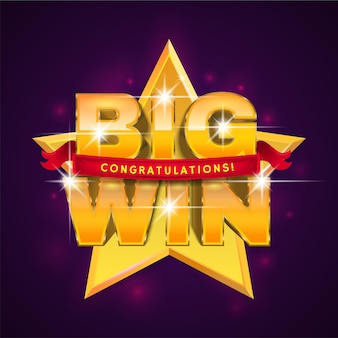 Big win banner with ribbon for online casino, poker, roulette, slot machines, card games