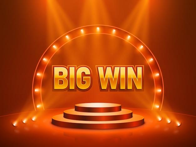 Большой выигрыш казино баннер для текста. векторная иллюстрация