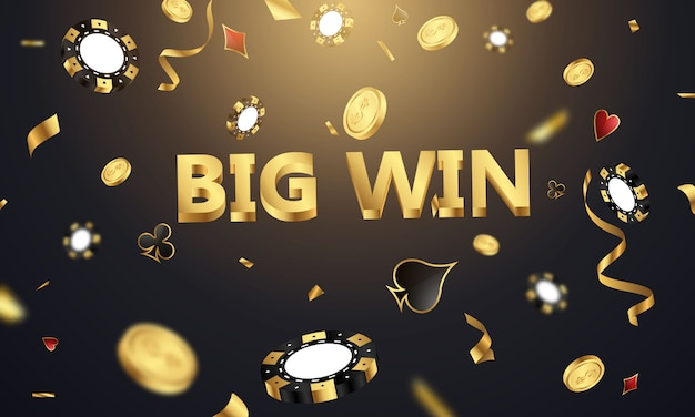 Big win casino luxury vip invitation with confetti celebration party gambling banner background.