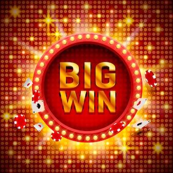 Вывеска казино big win, дизайн игрового баннера. векторная иллюстрация