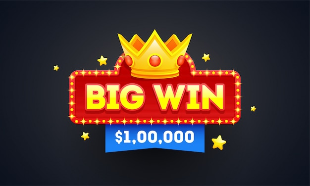 Big win emblem or badge design with winning prize value.