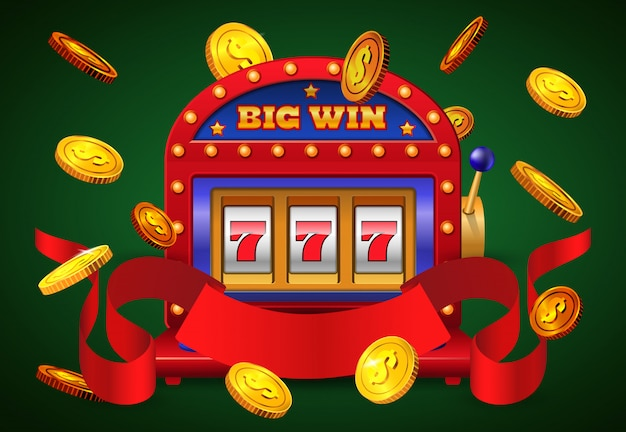 Большая победная надпись, игровой автомат и летающие золотые монеты.