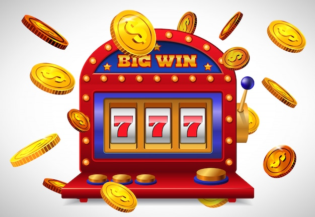Big win lettering, lucky seven slot machine and flying golden coins.