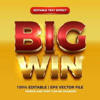 Big win luxury gold 3d editable text effect